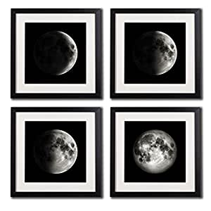 amazon com white matted black picture frame moon poster canvas