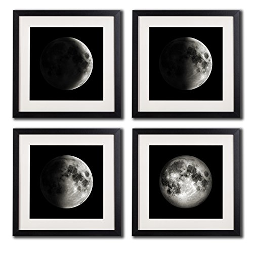 White Matted Black Picture Frame Moon Poster Canvas Prints Black And White Wall Art Home Decor Artwork For Living Room 4 Piece Crescent Half Full Moon Phases Framed Painting Printed On Canvas