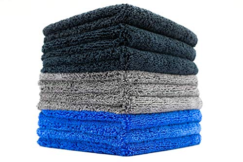 (9-Pack) THE RAG COMPANY 16 in. x 16 in. Professional 70/30 Blend 420 GSM Dual-Pile Plush Microfiber Auto Detailing Towels - Spectrum 420 DARK PACK ()