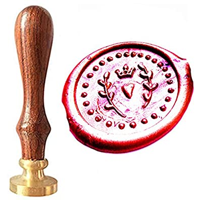 MNYR Imperial Crown Wreath Heart Dotted Circle Wax Seal Sealing Stamp Kit with Rosewood Handle - Ideal for Decorating Gift Packing, Envelopes, Parcels, Cards, Letetrs, Wedding Invitations Seal Stamp
