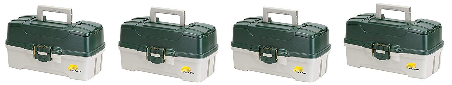 Plano 3-Tray Tackle Box with Dual Top Access, Dark Green Metallic/Off White, Premium Tackle Storage (Pack of 4) by Plano