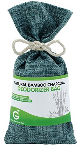 BUY MORE SAVE MORE Great Value SG Bamboo Charcoal Deodorizer Bag, Best Air Purifiers for Smokers & Allergies, Perfect Car Air Fresheners, Remove Smells for Home & Bathroom (Viridian Blue)