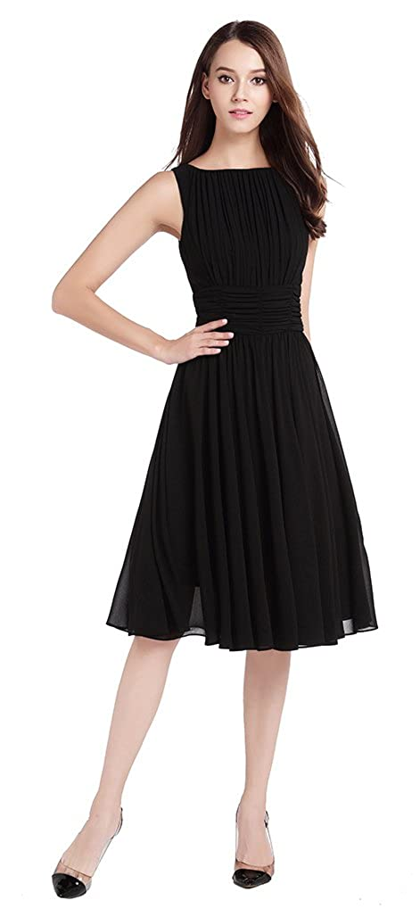 fef50238f0ef25 MILEEO Damen Chiffon Kleid Knielang mit Plissee-Falten Ärmellos  Cocktailkleid Kleider