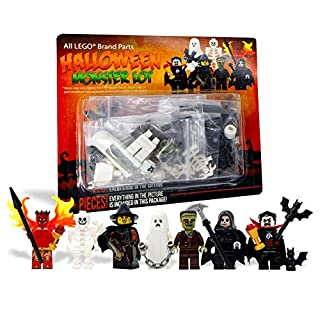 LEGO Halloween Vampire, Witch, Ghost, Skeleton, Devil, Grim Reaper, Frankenstein Set - Custom Monster Minifigures