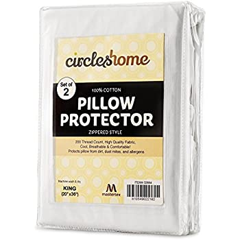 Mastertex Zippered Pillow Protectors 100% Cotton, Breathable & Quiet (2 Pack) White Pillow Covers Protects from Dirt, Dust Mites & Allergens (King - Set of 2-20x36)