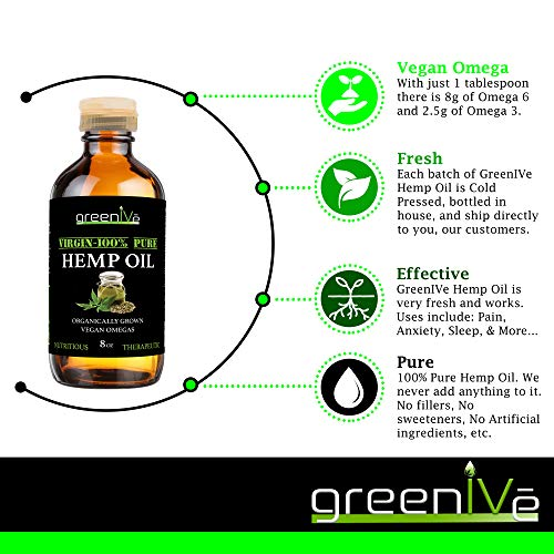 51MLqsyY9jL - GreenIVe - Hemp Oil 910,000mg - Anti-Inflammatory - Vegan Omegas - Cold Pressed - Exclusively on Amazon (32 Ounce)