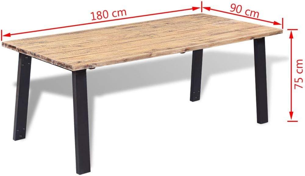 Meuble Salon 120 x 60 x 76 cm mewmewcat Table de Salle /à Manger de Style Industriel Marron et Noir Bureau dOrdinateur en Bois Massif de Manguier Brut et Acier Bureau