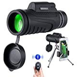 Monocular Telescope,12X50 High Power telescopes for adults with Low Night Vision Waterproof Fog-proof Smartphone Adapter Tripod Holder for Bird Watching, Hunting, Camping, Sport Games and Concerts
