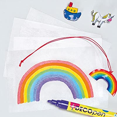 Baker Ross Super Shrink Sheets, Perfect for Children to Decorate and Create Art Projects, Ideal for Home, Craft Groups, Party Crafting and More (Pack of 10): Toys & Games
