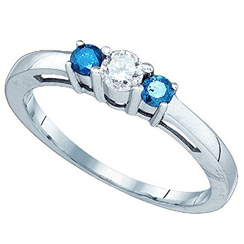 - Dazzlingrock Collection 0.37 Carat (ctw) 10K Round Cut White & Blue Diamond Ladies 3 Stone Engagement Promise Ring, White Gold