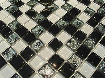 Fliesentopshop Glasmosaik Mosaik Fliesen Klarglas 8mm Schwarz Weiß