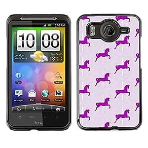FlareStar Colour Printing Purple Grey Unicorn Pattern Horse cáscara Funda Case Caso de plástico para HTC Desire HD / inspire 4G / G10