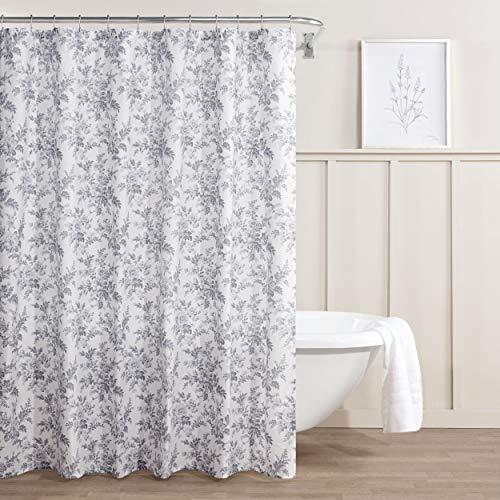 Laura Ashley Annalise Floral Shower Curtain, 72 x 72, Medium Gray