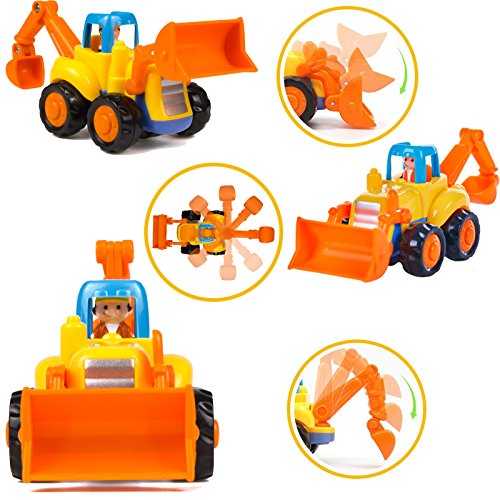 Wolson Push and Go Friction Powered Car Toys Engineering Vehicles Set Tractor Bulldozer Mixer Truck and Dumper for Baby Toddlers by Wolson (Image #3)