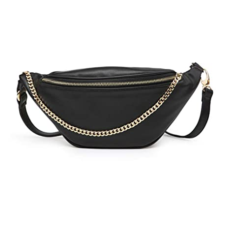 be6ecb0d0b76 Fashion Leather Waist Fanny Pack Chest Bag Phone Purse with Metalic Chain  for Women Black