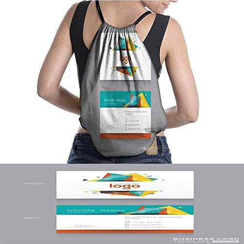 Drawstring Backpack Abstract Business card Template W13.7