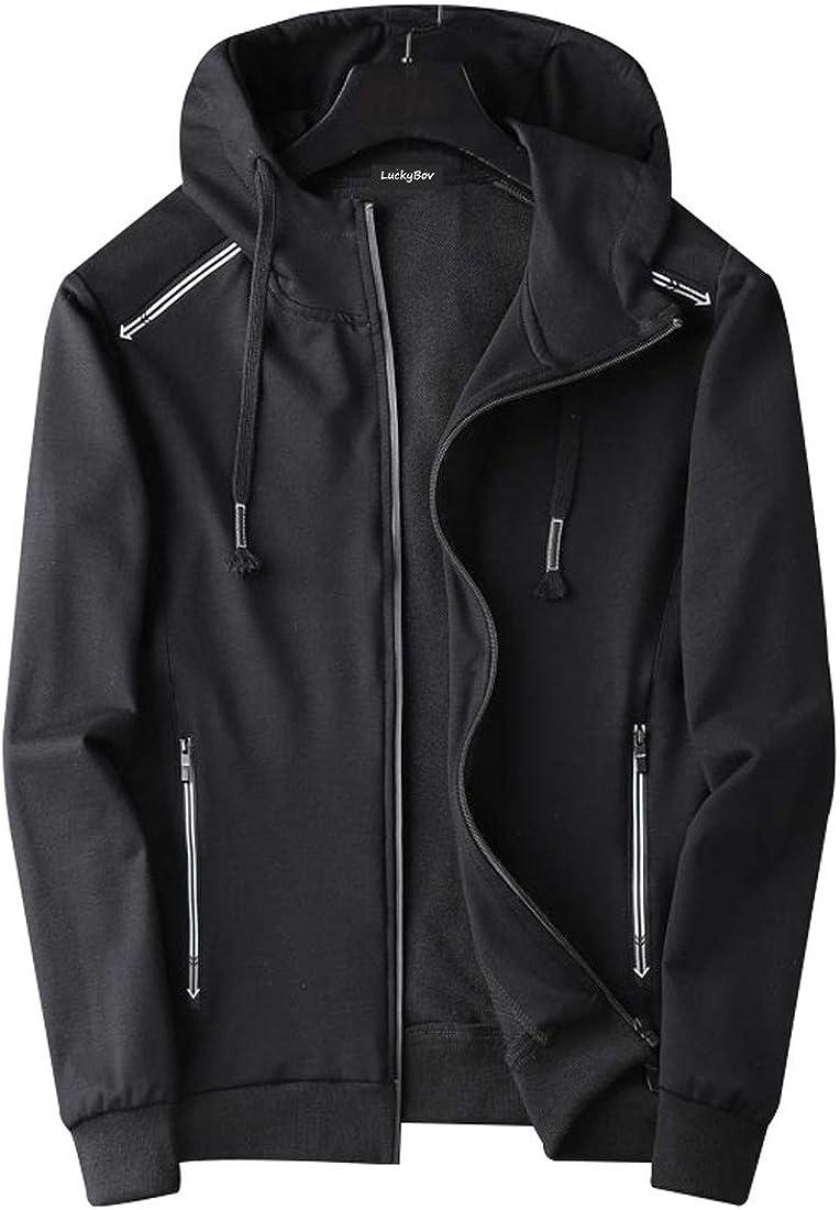LuckyBov Men Quality Sport Hooded Jacket Moisture Wick Full Zip Hoodies Outerwear