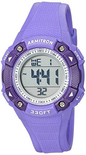 Armitron Sport Women's 45/7081PUR Digital Chronograph Purple Resin Strap Watch