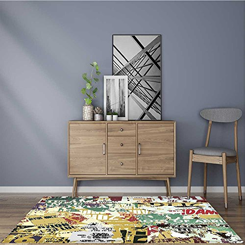 Anti-Static Rugs Retro Style Collage Print of Torn Posters M