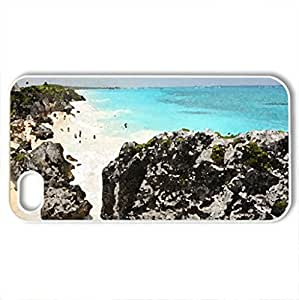 beautifully rugged public beach in mexico - Case Cover for iPhone 4 and 4s (Beaches Series, Watercolor style, White)