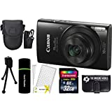Canon PowerShot ELPH 190 IS 20.2MP 10x Zoom Wi-Fi Digital Camera (Black) + 32GB Card + Reader + Case + Accessory Bundle
