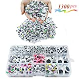 MOZOLAND Googly Wiggle Eyes 1300 Pcs Wiggle Eyes Self Adhesive for Craft Sticker Multiple Colored Size for DIY Animal Creative Crafts Decorations