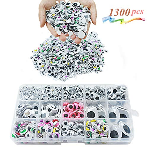 Googly Wiggle Eyes 1300 Pcs Wiggle Eyes Self Adhesive for Craft Sticker Multiple Colored Size for DIY Animal Creative Crafts Decorations ()