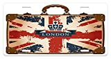 zaeshe3536658 Union Jack License Plate, Vintage Travel Suitcase with British Flag London Ribbon and Crown Image, High Gloss Aluminum Novelty Plate, 6 X 12 Inches, Dark Blue Red Brown