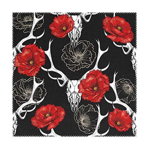 My Little Nest Square Placemats Deer Skull Red Flowers Heat Resistant Table Mats Washable Place Mats for Festival Party Kitchen Dining Table 4 Pieces (Deer Square Coffee Table)
