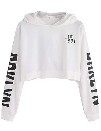 bb086648cb Sweatshirt à Capuche Court Pull Ado Fille à La Mode Pas Cher Femme Sweat  Ado Fille