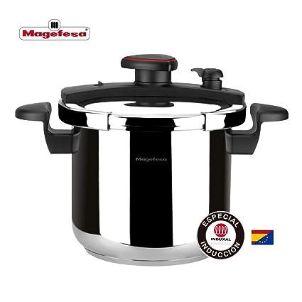 MAGEFESA Astra Olla a presión Super rápida fácil Uso, Acero Inoxidable 18/10, para Todo Tipo de cocinas, inducción Total.5 Sistemas de Seguridad, ...