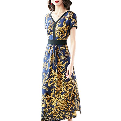Split Women`s Sleeve Printed Dress Dresses Long cotyledon Short B5xdqXnwf