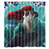 LOVELIFE Custom Grumpy Cat of Little Mermaid Waterproof Polyester Fabric Bathroom Shower Curtain Standard Size 66(w)x72(h)
