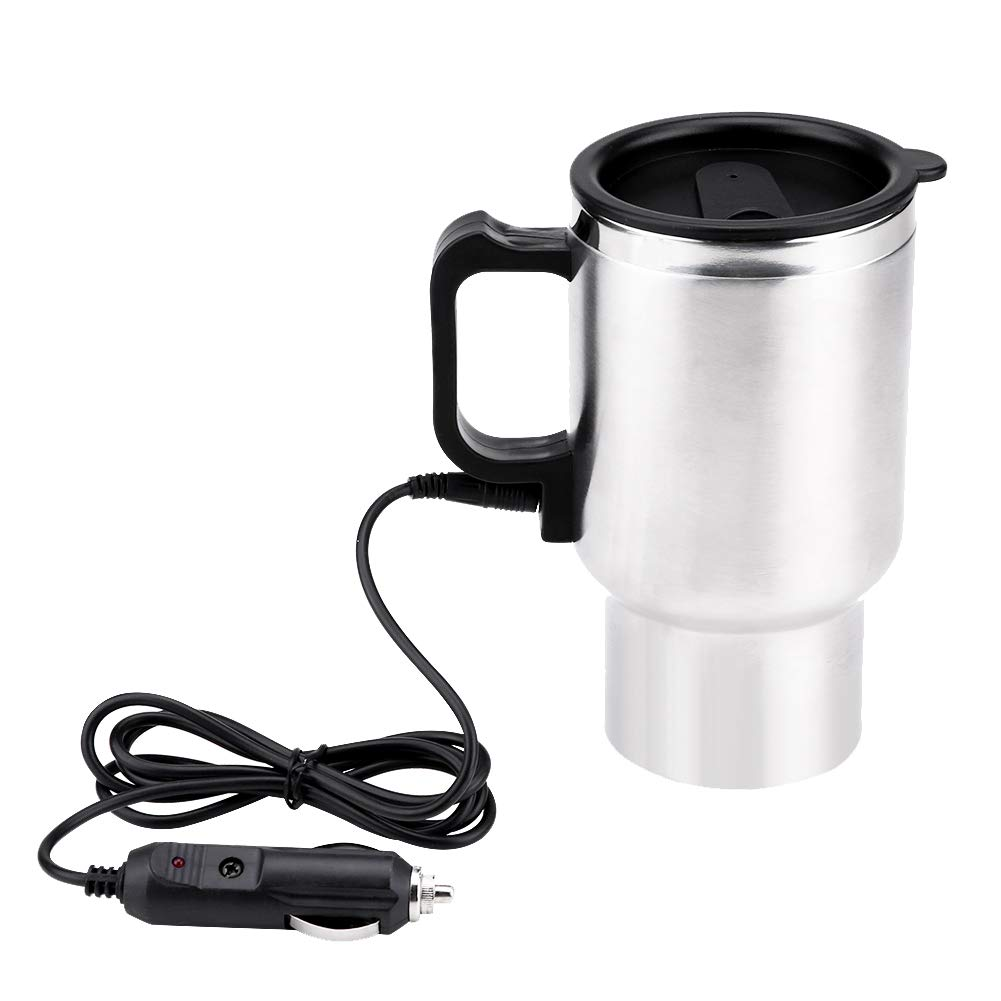 450ml Electric Car Cup Travel Heating Cup, Keenso Electric Insulated Plug Kettles Boiling Car Coffee Mug Heater with Cigarette Lighter, 12V Stainless Steel