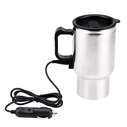 99f4d793bdb 450ml Electric Car Cup Travel Heating Cup, Keenso Electric Insulated Plug  Kettles Boiling Car Coffee Mug Heater with Cigarette Lighter, 12V Stainless  ...