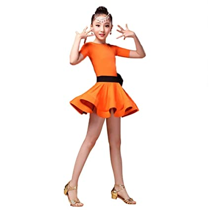67c68f467 Kid Girls Short Sleeve Spandex Latin Rumba Samba Dance Dress Ballroom  Dancewear Tutu Professional Stage Performance