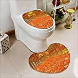 Analisahome Non-Slip Bathroom Mats Set Pathway with nice leaves at autumn,Spain Customized Heart shaped foot pad