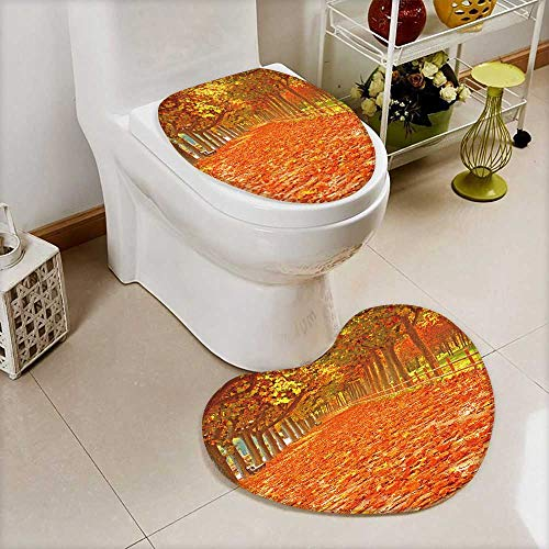 Analisahome Non-Slip Bathroom Mats Set Pathway with nice leaves at autumn,Spain Customized Heart shaped foot pad by Analisahome