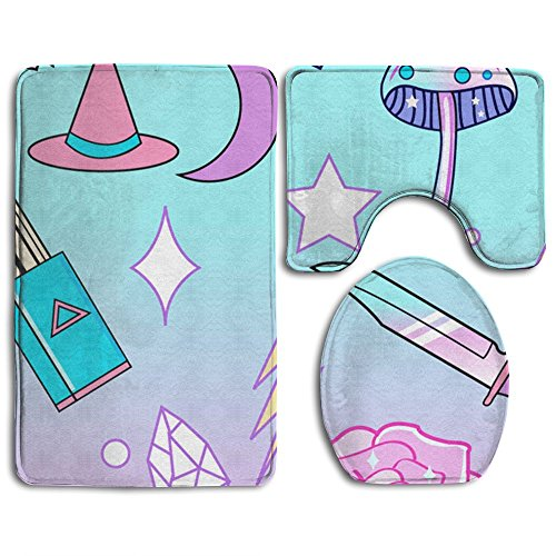 Girly Pastel Goth Witch Pattern 3-Piece Soft Bath Rug Set Includes Bathroom Mat Contour Rug Lid Toilet Cover Home Decorative (Witch Bathroom Door Cover)