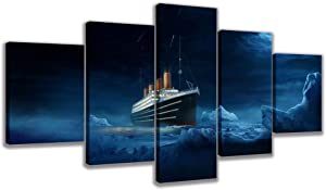 LANFEINA HD Printed Modular Picture 5 Panel Steamboat Iceberg Wall Art Canvas Poster Painting for Living Room Home Decor