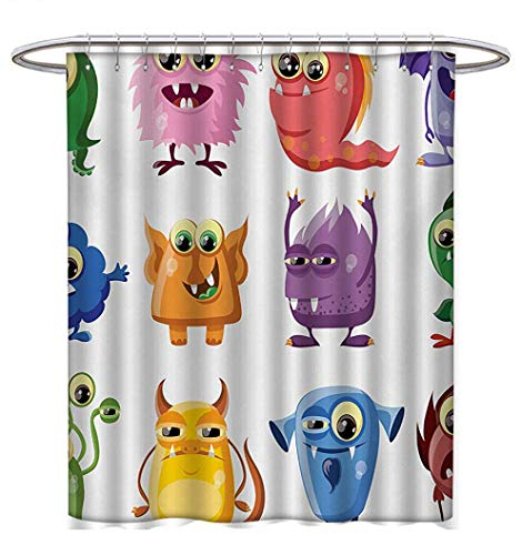 Funny Shower Curtains Sets Bathroom Animated Bacteria Aliens Theme Germ Whimsical Cartoon Monsters Humor Faces Graphic Bathroom Accessories W36 x L72 Multicolor (Ying Animated Yang)