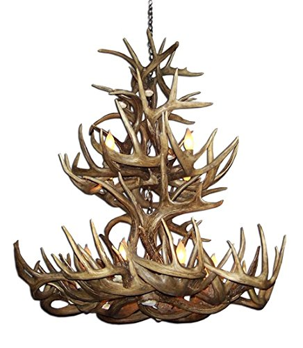 (Reproduction Antler Whitetail Deer Tall Boy Double Tier Chandelier Light Xlarge)