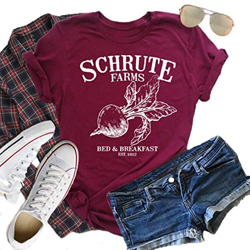 JEYMMI Women Graphic Tee Schrute Farms Shirt Short Sleeve Solid Color Printed Summer Vacation Shirts Graphic Tees (XL, Deep Red)