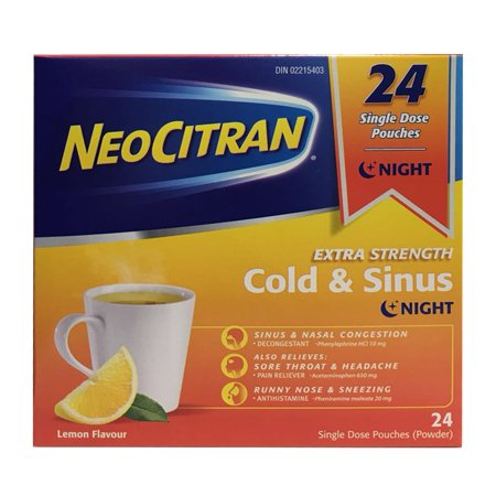 NEOCITRAN EXTRA STRENGTH COLD & SINUS NIGHT, 24 single dose pouches(powder)