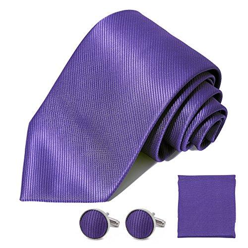 Dress Tie Satin Silk (DEVPSISR Solid Satin Wide Tie Pocket Square Cufflinks Men Neckties Suit Accessories Formal set For Men (Purple))