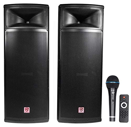"Rockville Pair Dual 15"" 2000w Powered DJ Speaker System w/Bluetooth+Mic, RPG225K)"