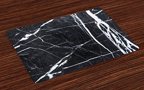 Ambesonne Marble Place Mats Set of 4, Grunge Natural Gemstone Nostalgic Marbling Architecture Culture Design, Washable Fabric Placemats for Dining Room Kitchen Table Decor, Charcoal Grey White