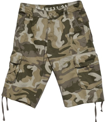 Mens Khaki Camouflage Cargo Shorts #28sC-3 Size 34