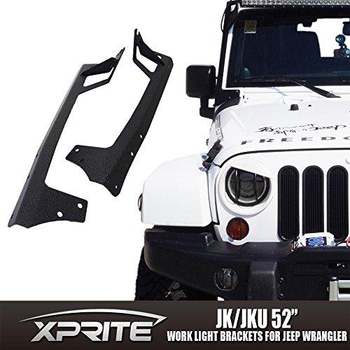 [Xprite 52-inch LED Light Bar Upper Windshield Mounting Bracket 2007-2017 Jeep Wrangler JK 4WD, Wrangler Unlimited JK 4WD/2WD] (Bar Mounting Hardware)