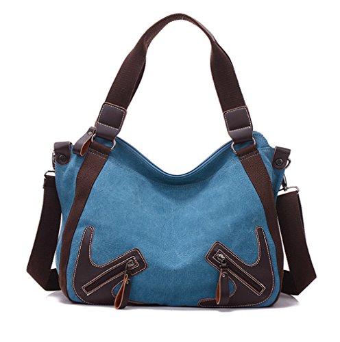 Bolsos de señora Xinmaoyuan señoras bolso bolso de lona con bolsa de cuero Bolso Bolso Bolsa de gran capacidad Blue